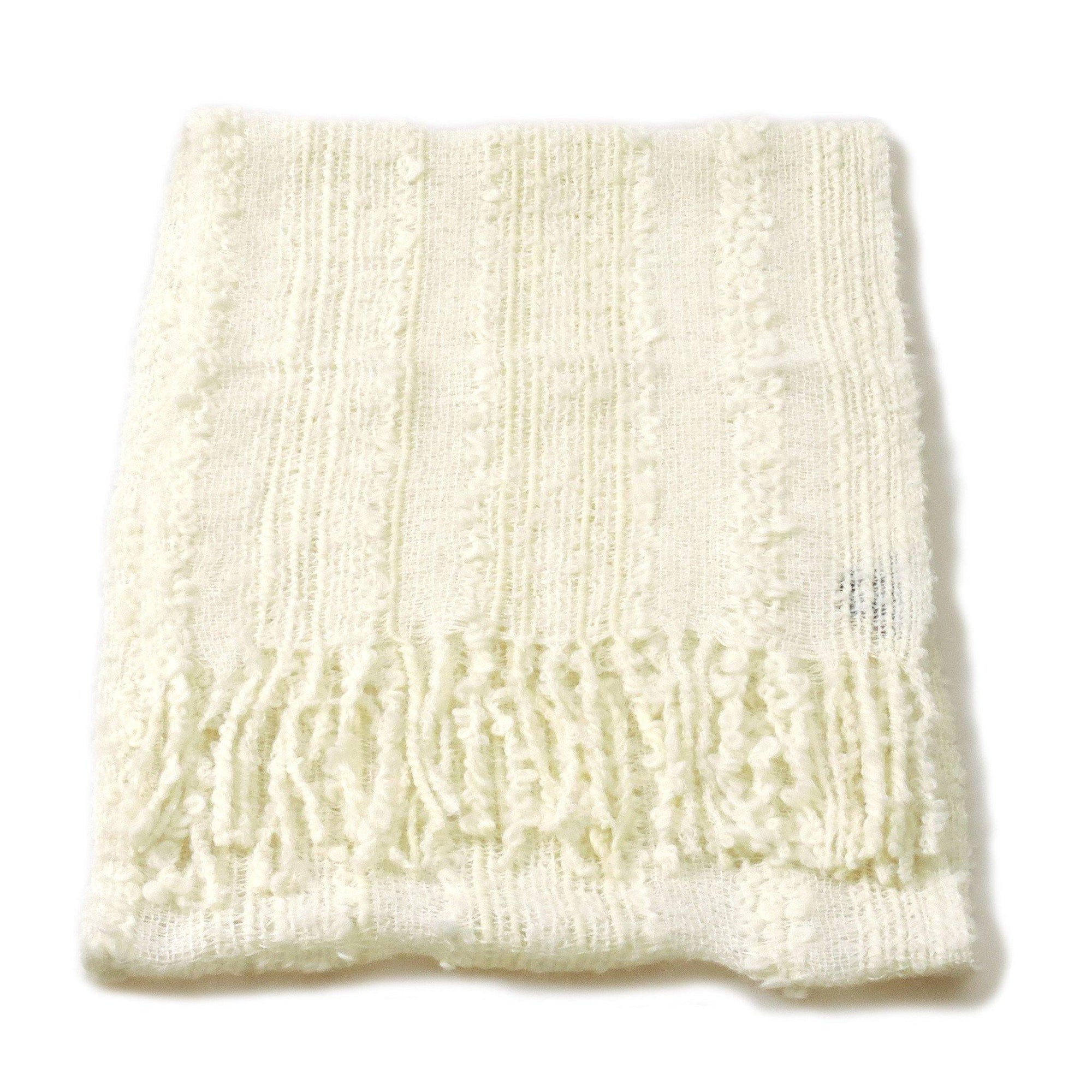 100% Baby Alpaca Boucle Scarf - Natural White