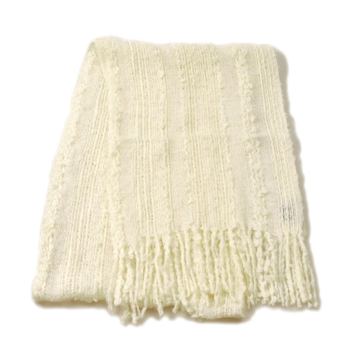 Hand-woven Baby Alpaca Fantasia Scarf - White Cloud - Qinti - The Peruvian Shop