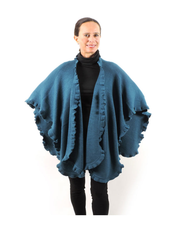 Baby Alpaca & Acrylic Wool Blend Knit Wrap with Ruffles - Teal - Qinti - The Peruvian Shop
