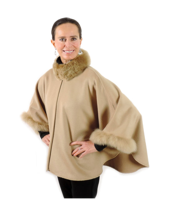 Baby Alpaca Cape with Fur Collar and Sleeves - Beige , Baby Alpaca Poncho - ARTISANS ON MAIN STREET, {Artisan_Silver_Gifts} - 1