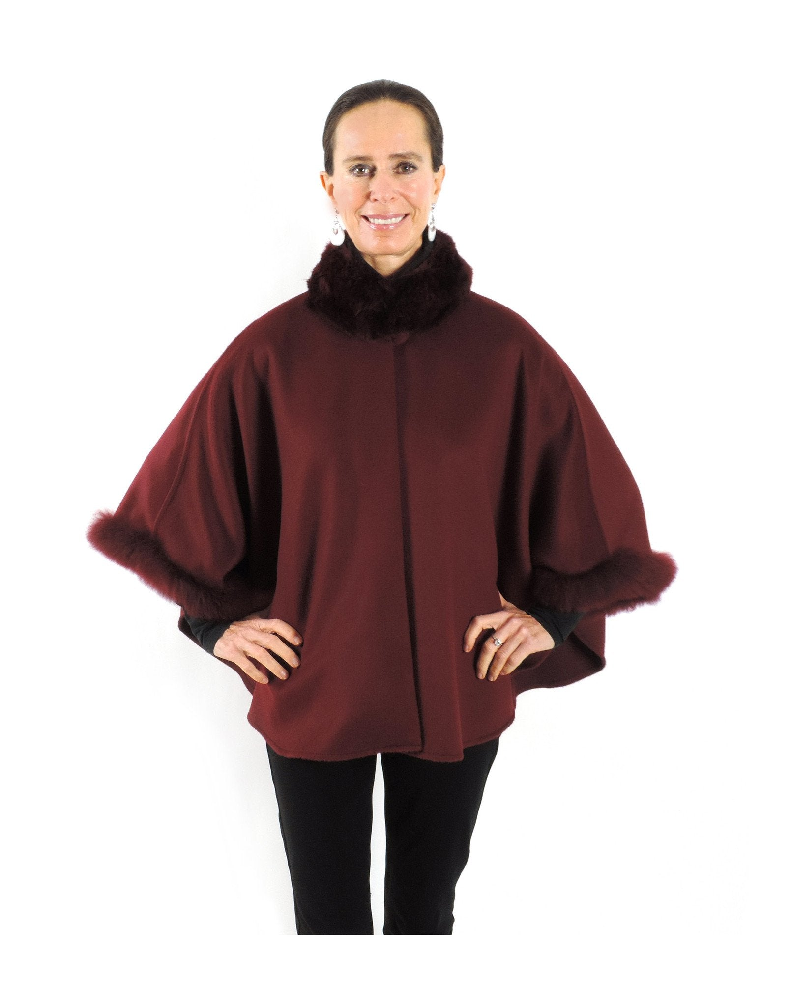Baby Alpaca Cape with Fur Collar and Sleeves - Burgundy - Qinti - The Peruvian Shop