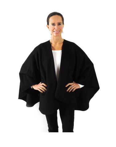 Classic Baby Alpaca Cape in Black , Baby Alpaca Poncho - ARTISANS ON MAIN STREET, {Artisan_Silver_Gifts}