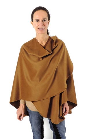Classic brushed Baby Alpaca Cape Ruana Poncho in camel at ArtisanSilverGifts.com