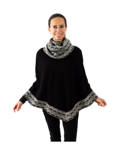 Baby Alpaca Knitted Poncho with Cowl Neck - Black , Baby Alpaca Poncho - ARTISANS ON MAIN STREET, {Artisan_Silver_Gifts} - 1