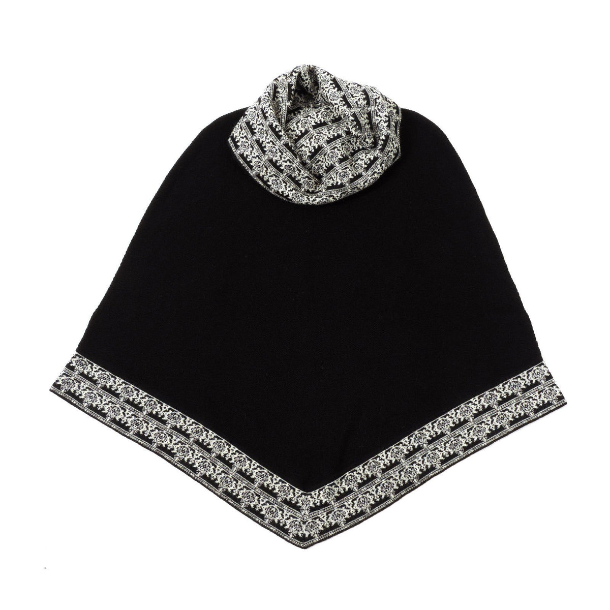100% Baby Alpaca Poncho with Cowl Neck - Black - Qinti - The Peruvian Shop
