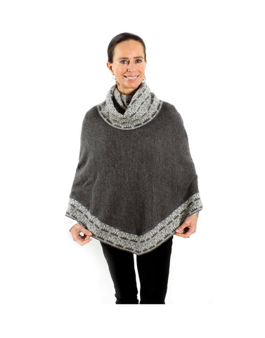 Baby Alpaca Knitted Poncho with Cowl Neck - Grey , Baby Alpaca Poncho - ARTISANS ON MAIN STREET, {Artisan_Silver_Gifts} - 1