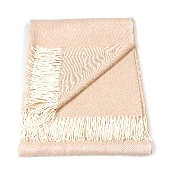 Baby Alpaca Geometric Throw Blanket in Beige & Cream - Qinti - The Peruvian Shop