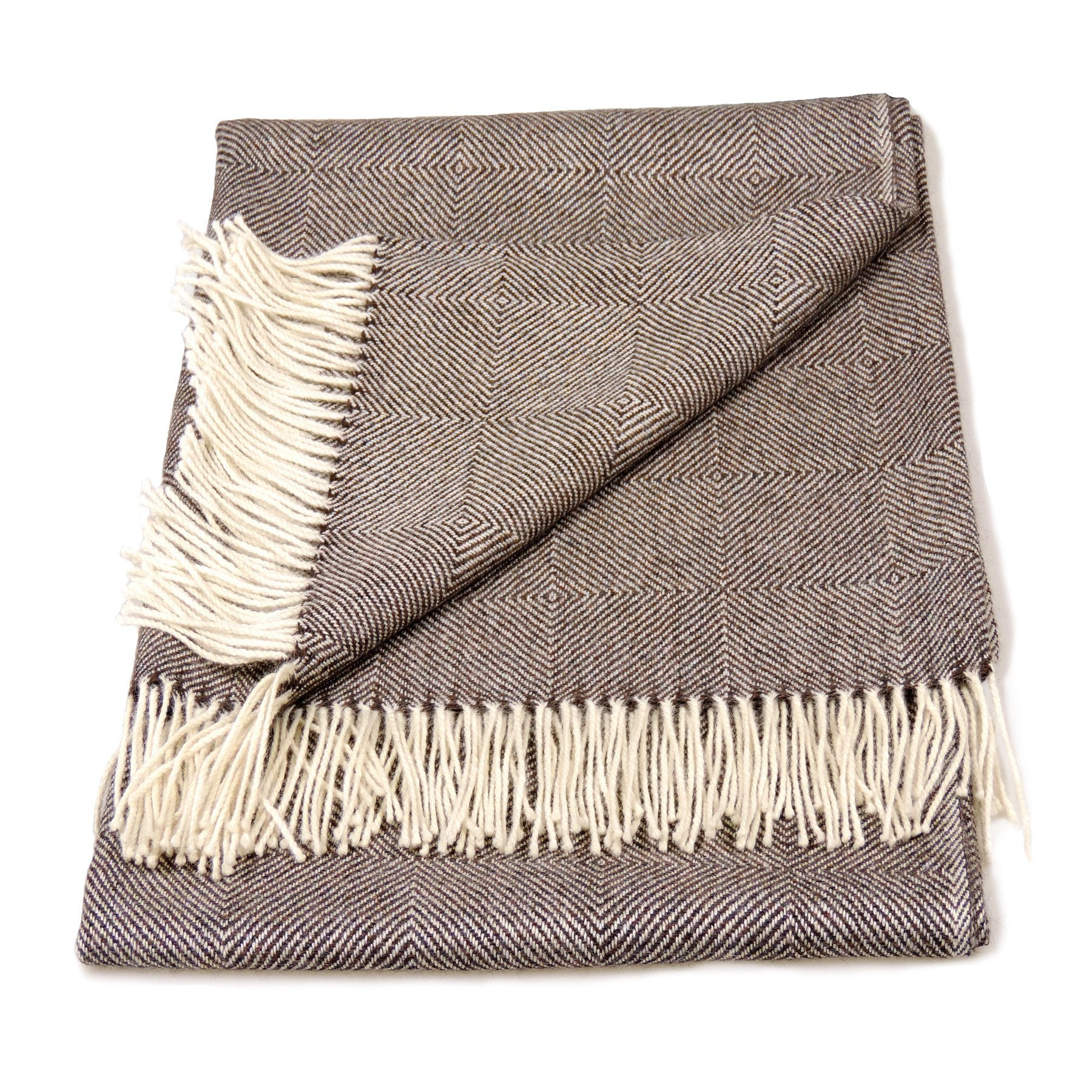 Baby Alpaca Geometric Throw Blanket in Brown & Cream - Qinti - The Peruvian Shop