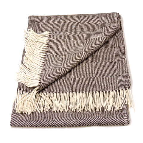 Baby Alpaca Geometric Throw Blanket in Brown & Cream , Baby Alpaca Throws - Artisan Silver & Gifts, {Artisan_Silver_Gifts} - 1