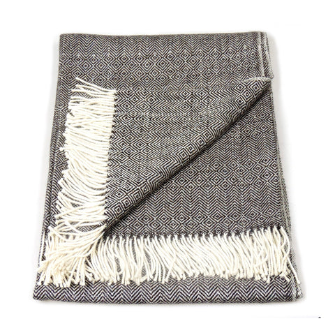 Baby Alpaca Geometric Throw Blanket in Charcoal & Cream , Baby Alpaca Throws - Artisan Silver & Gifts, {Artisan_Silver_Gifts} - 1