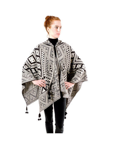 Baby Alpaca Geometric black & white knit Poncho Cape with Hood at ArtisanSilverGifts.com