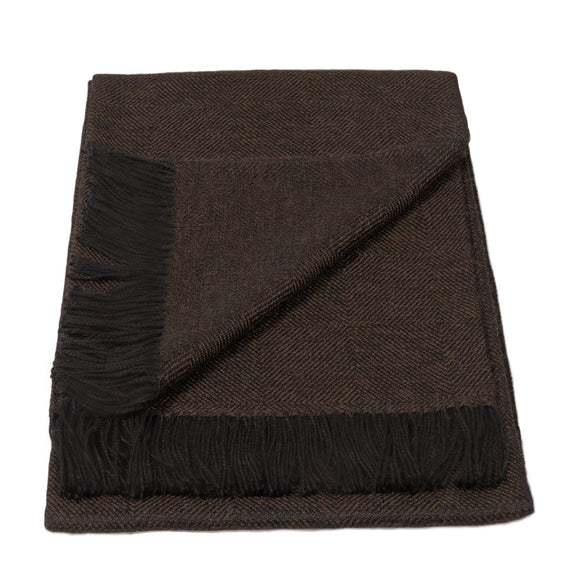 Baby Alpaca Geometric Throw Blanket in Black & Brown - Qinti - The Peruvian Shop