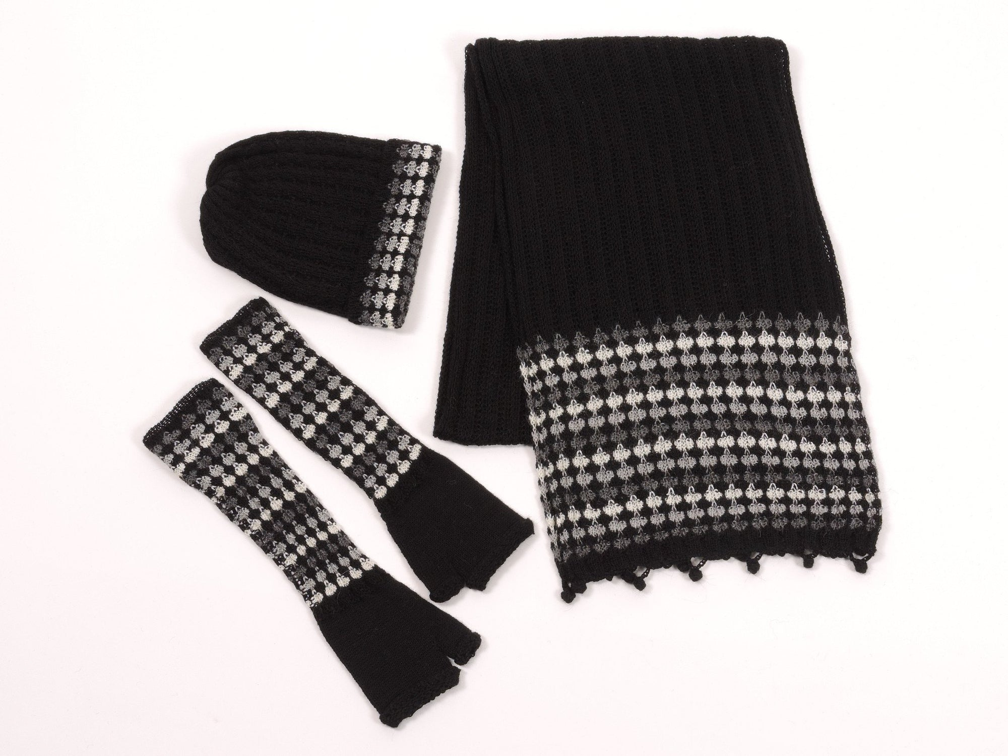 Baby Alpaca Knit Scarf Hat Gloves Set - Black, Grey & White - Qinti - The Peruvian Shop