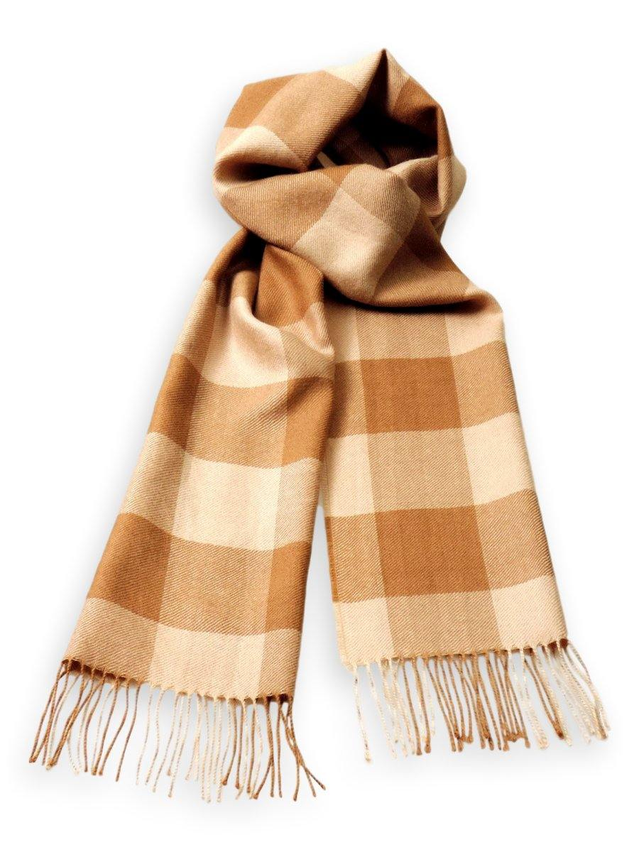 100% Baby Alpaca Plaid Scarf in Natural Colors