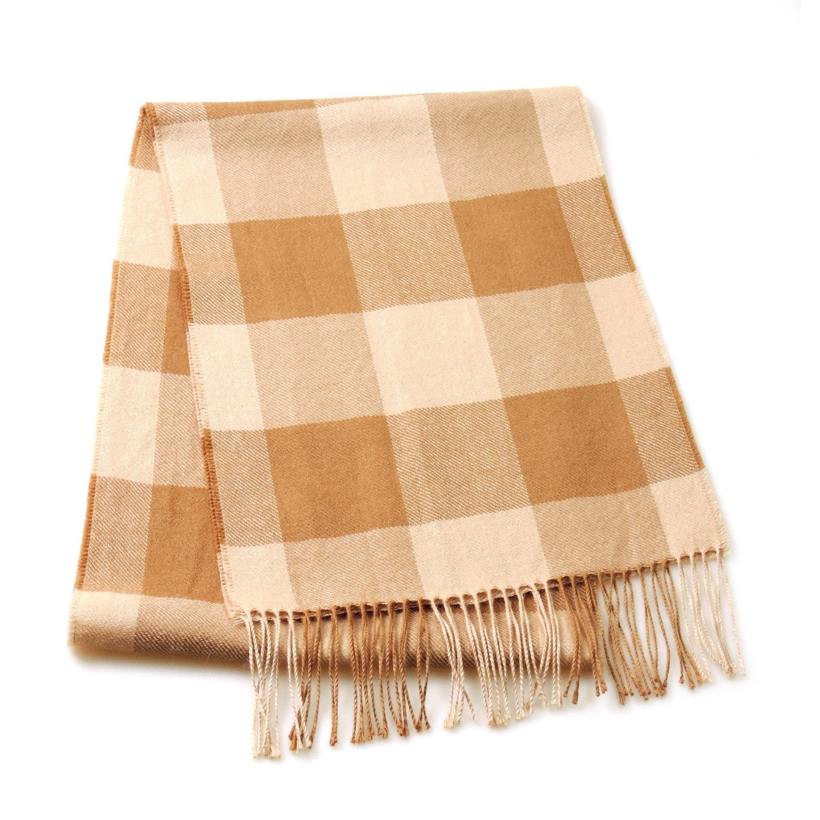 100% Baby Alpaca Plaid Scarf in Natural Colors - Qinti - The Peruvian Shop
