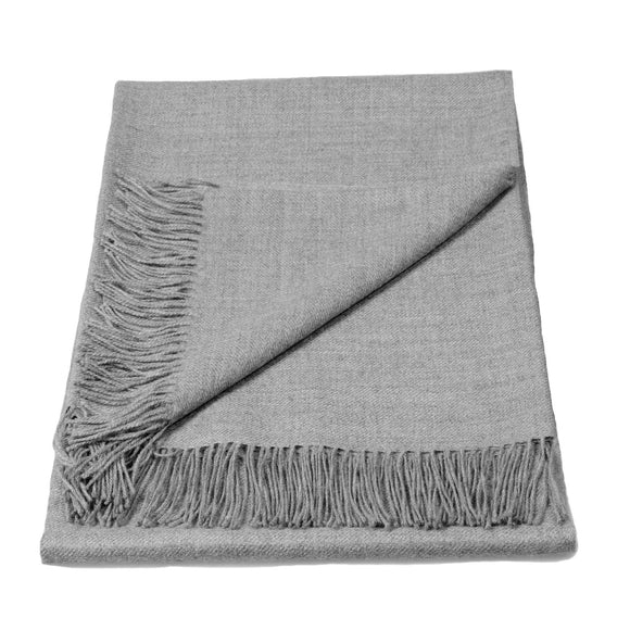 Baby Alpaca Classic Throw Blanket in Silver Grey Melange - Qinti - The Peruvian Shop