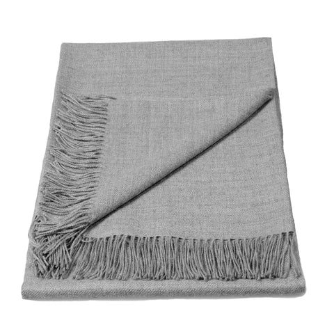 Baby Alpaca Classic Throw Blanket in Silver Grey Melange , Baby Alpaca Throws - Artisan Silver & Gifts, {Artisan_Silver_Gifts} - 1