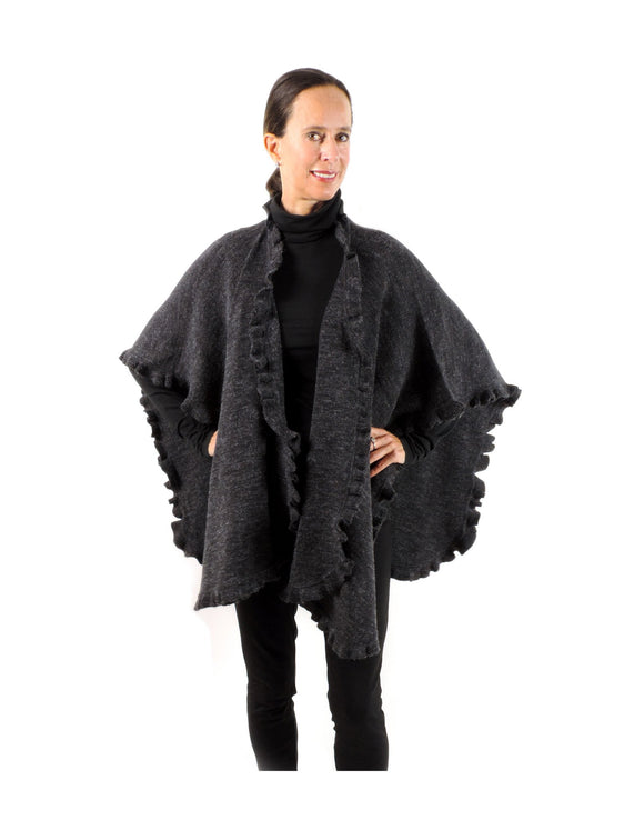 a3384062a Baby Alpaca & Acrylic Wool Blend Knit Wrap with Ruffles - Charcoal - Qinti  - The