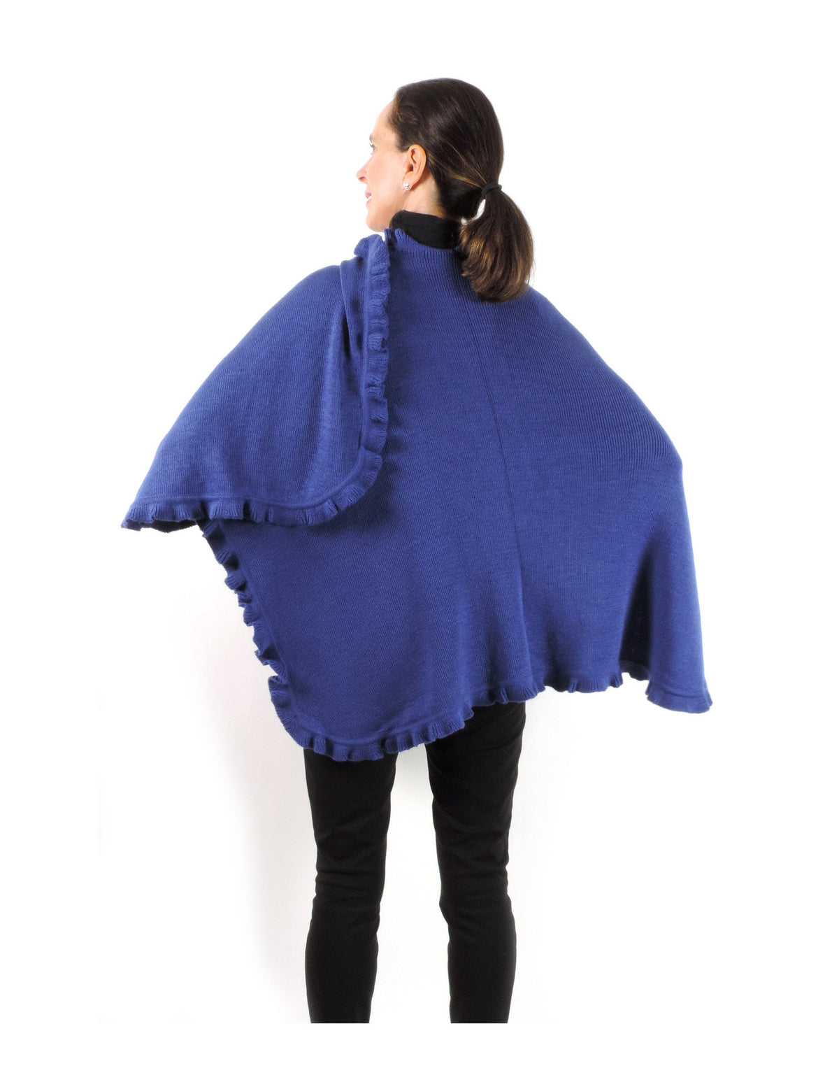 Baby Alpaca & Acrylic Wool Blend Knit Wrap with Ruffles - Blue - Qinti - The Peruvian Shop