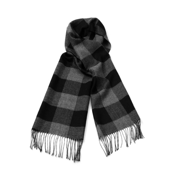 Baby Alpaca Woven Plaid Scarf - Black & Charcoal - Qinti - The Peruvian Shop