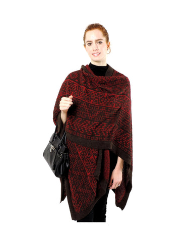 Baby Alpaca Classic Knit Ruana Poncho Cape - Red & Brown , Baby Alpaca Poncho - Artisan Silver & Gifts, {Artisan_Silver_Gifts} - 1