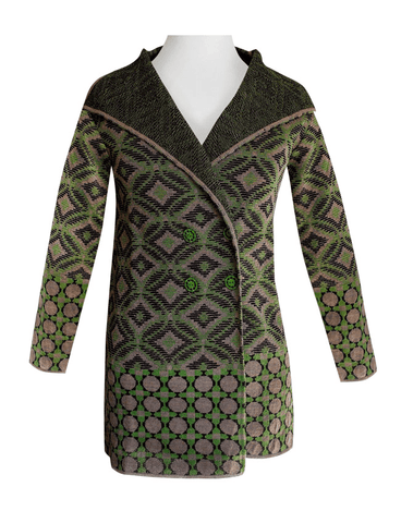 100% Baby Alpaca Long Coat Cardigan in Geometric Pattern - Green , Baby Alpaca Sweaters - ARTISANS ON MAIN STREET, {Artisan_Silver_Gifts} - 1