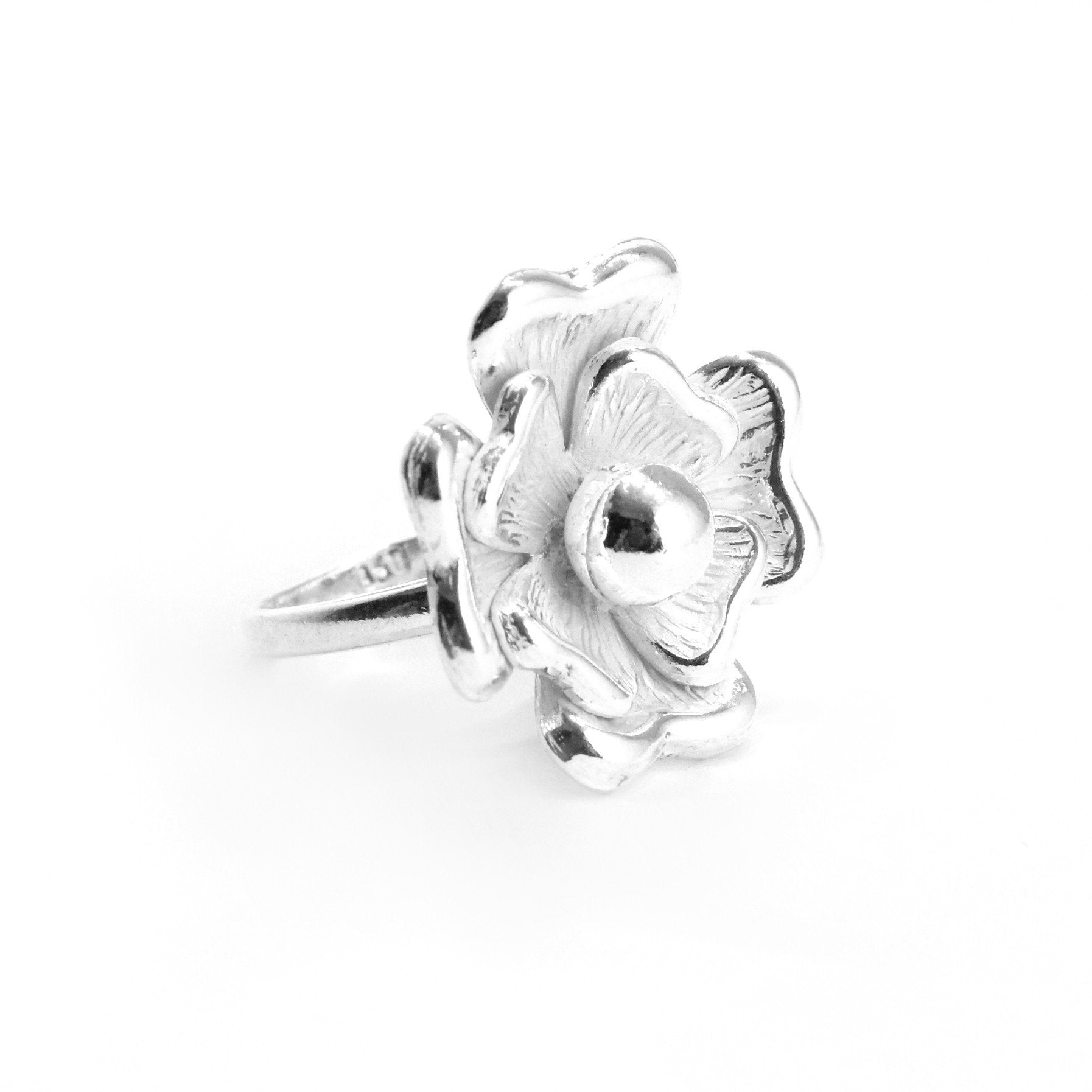 Handmade Big Flower Sterling Silver Ring - Qinti - The Peruvian Shop