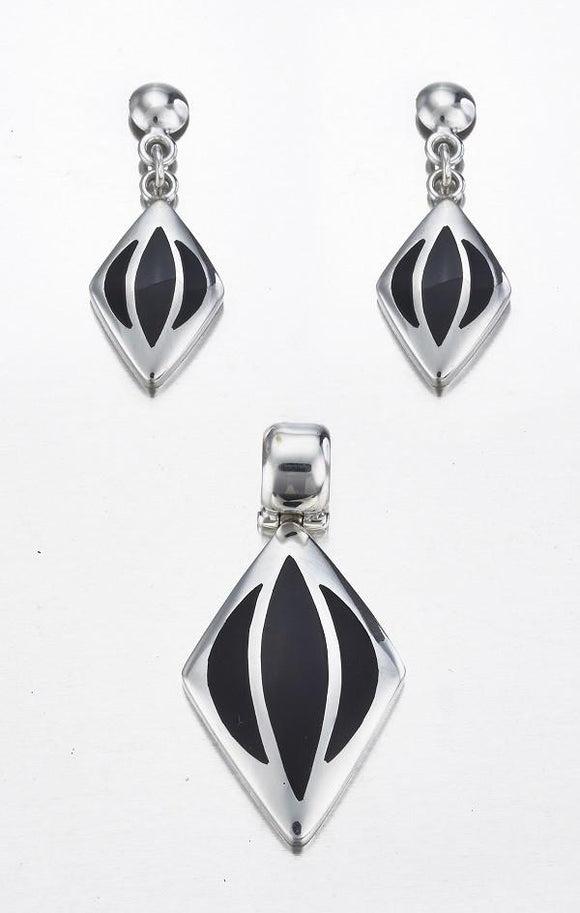Black Onyx & Sterling Silver Pendant & Stud Earrings Set - Qinti - The Peruvian Shop