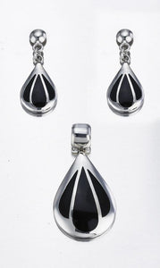 Black Onyx & Sterling Silver Teardrop Pendant & Stud Earrings Set - Qinti - The Peruvian Shop