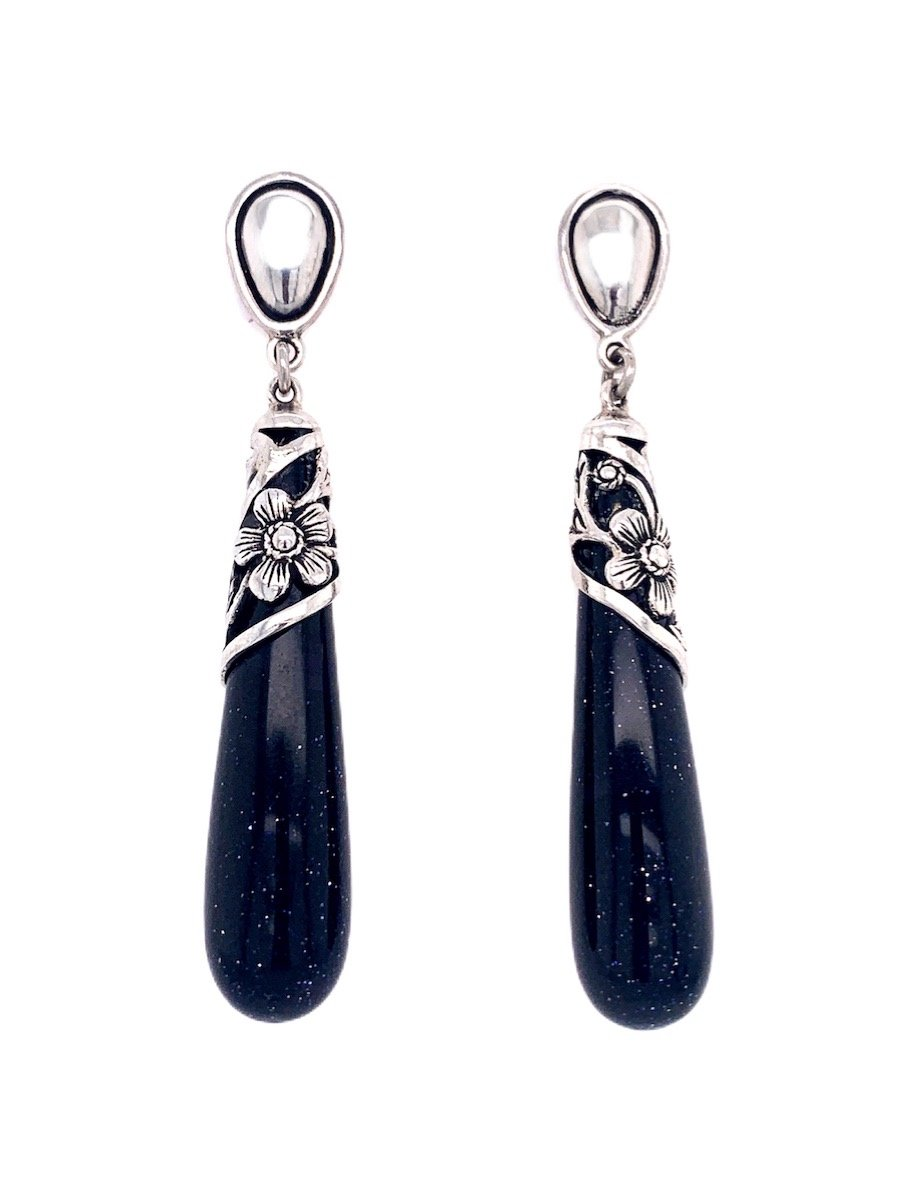 Blue Aventurine Silver Drop Earrings - Qinti - The Peruvian Shop
