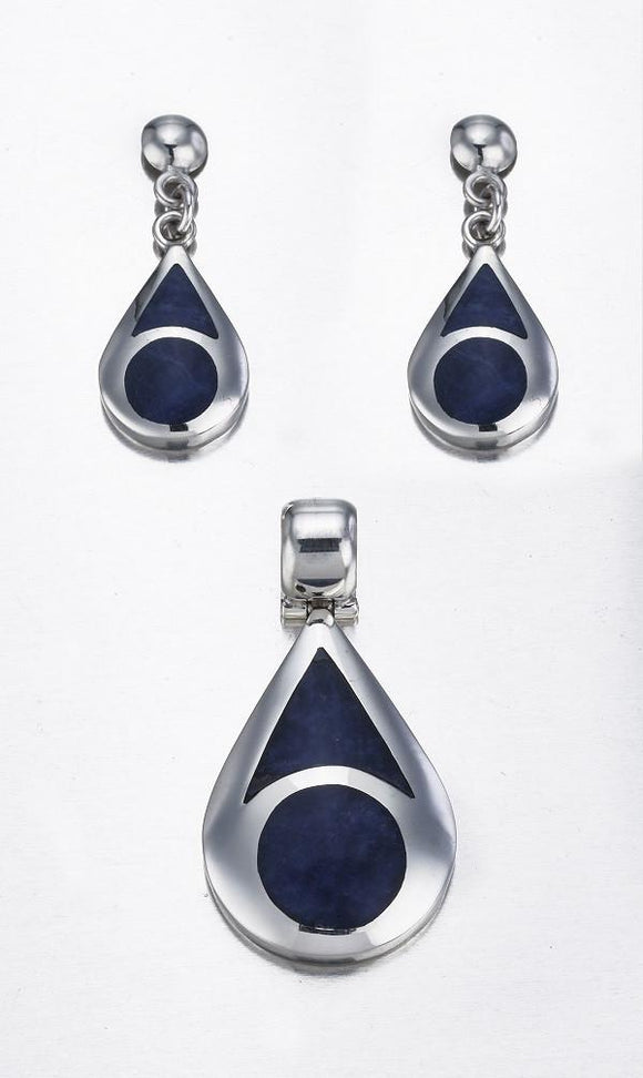Blue Sodolite & Sterling Silver Pendant & Stud Earrings Set - Qinti - The Peruvian Shop