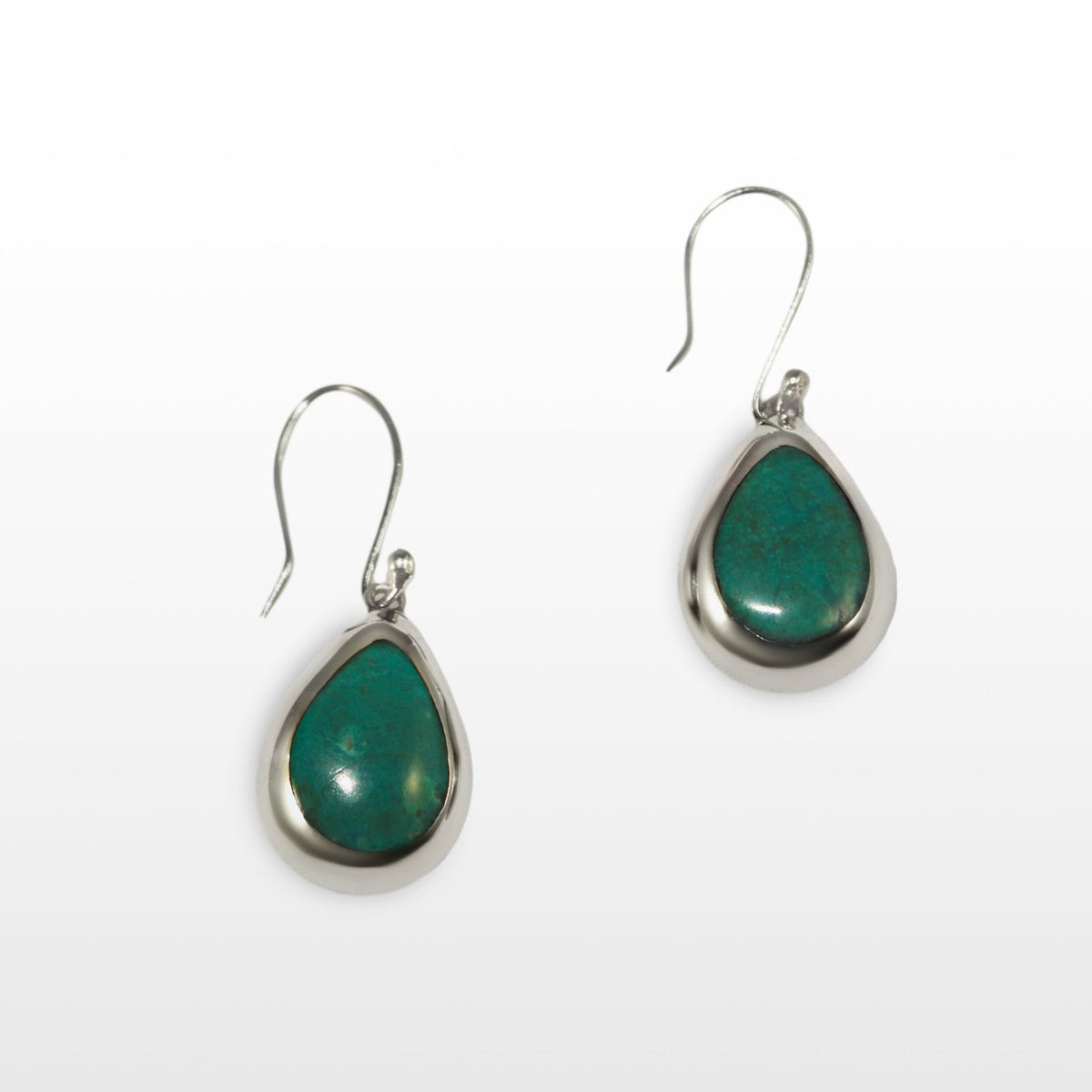 Chrysocolla Sterling Silver Flower Pendant Necklace & Earrings Set - Qinti - The Peruvian Shop