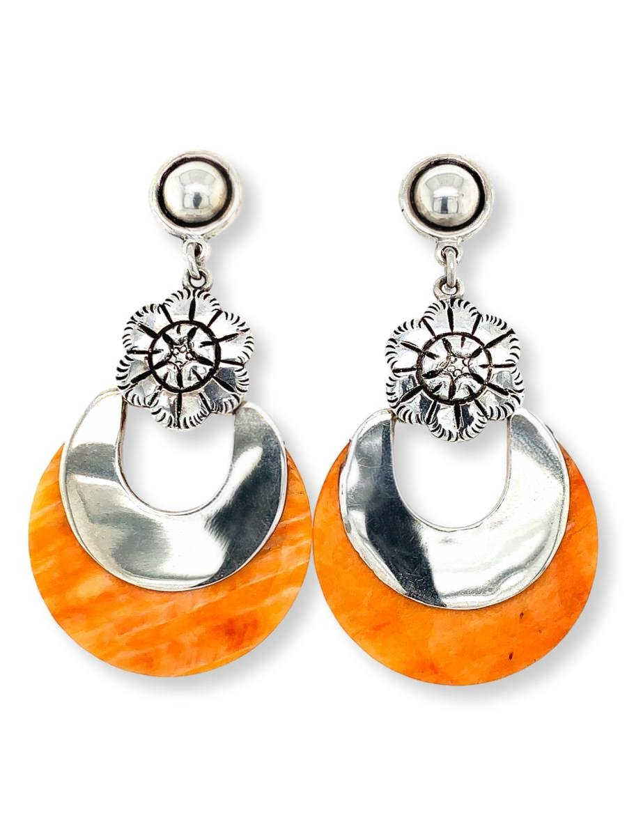 Orange Spiny Oyster Half-Moon Earrings - Qinti - The Peruvian Shop