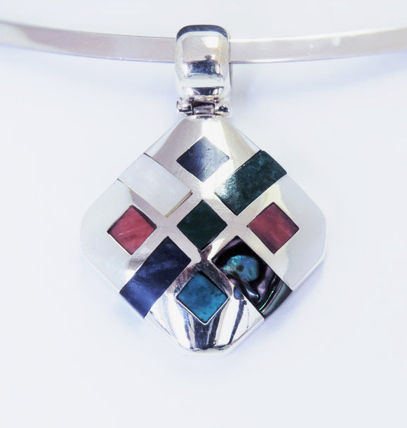 Sterling Silver & Multi-Stones Pendant , Jewelry Pendants  - ARTISANS ON MAIN STREET, {Artisan_Silver_Gifts} - 1