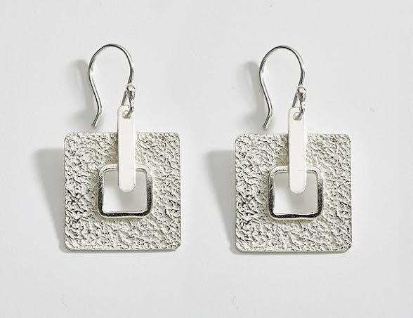 Geometric Textured Sterling Silver Earrings - Qinti - The Peruvian Shop