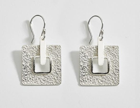Geometric Textured Sterling Silver Earrings , STERLING SILVER JEWELRY - EARRINGS - ARTISANS ON MAIN STREET, {Artisan_Silver_Gifts} - 1