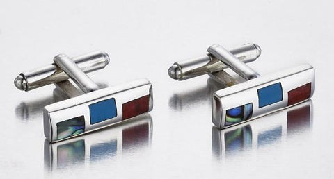 Tri-Stone & Sterling Silver Cufflinks , Sterling Silver Jewelry - Cufflinks - ARTISANS ON MAIN STREET, {Artisan_Silver_Gifts}