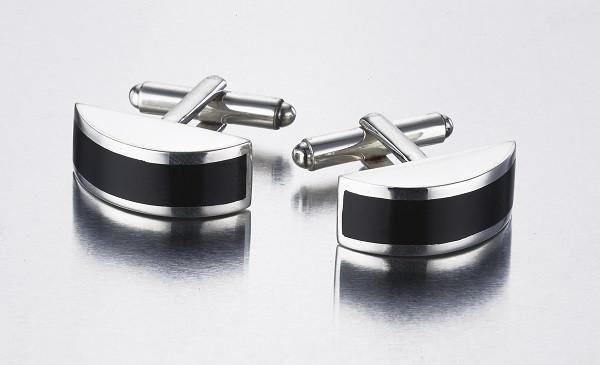 Black Onyx & Sterling Silver Half Cylinder Cufflinks - Qinti - The Peruvian Shop
