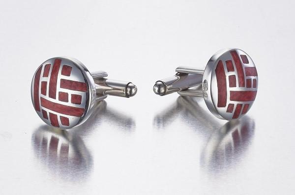 Spondylus Shell & Sterling Silver Cufflinks - Qinti - The Peruvian Shop