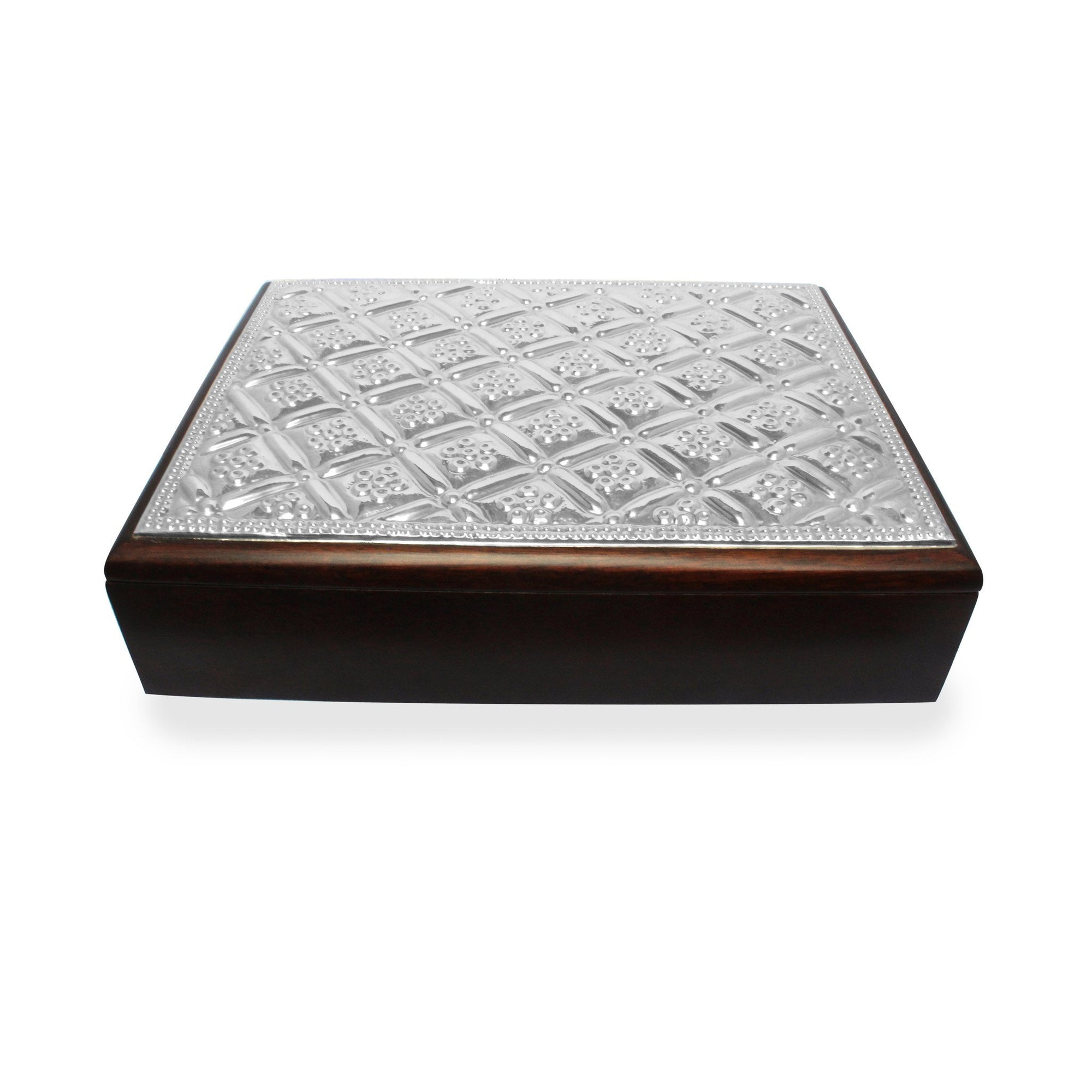Sterling Silver Keepsake Box with Diamonds & Daisies - Qinti - The Peruvian Shop