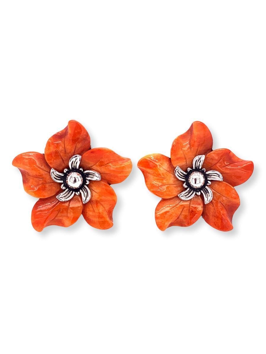 Flower Sterling Silver Stud Earrings - Qinti - The Peruvian Shop