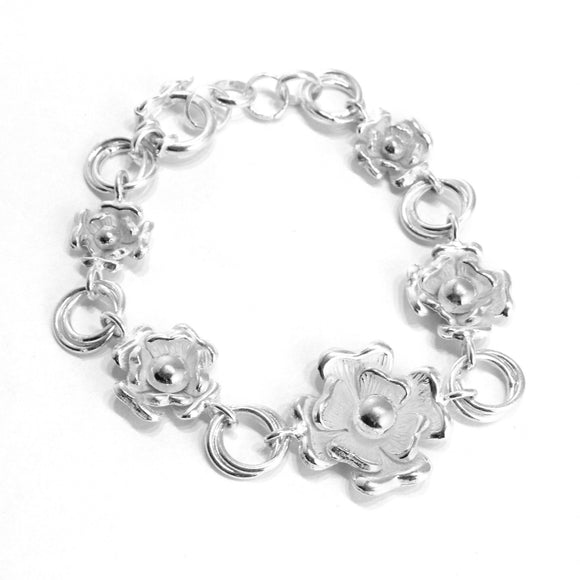 Flowers Bracelet, Earrings & Ring in Sterling Silver - Qinti - The Peruvian Shop