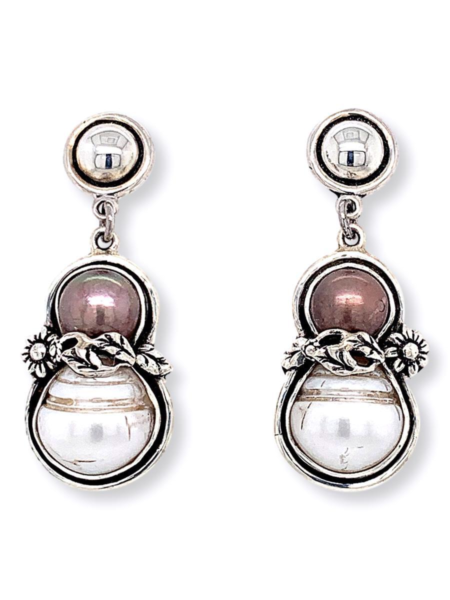 Baroque Pearl Drop Earrings in Sterling Silver - Qinti - The Peruvian Shop