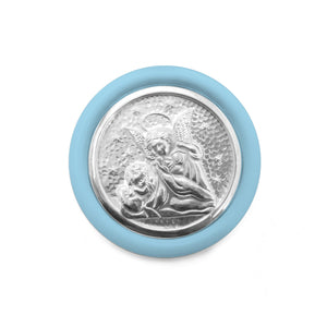 Sterling Silver Crib Medal – Baby Blue - Qinti - The Peruvian Shop