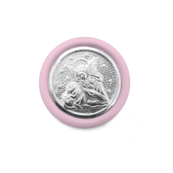 GUARDIAN ANGEL Crib Medal in Sterling Silver – Pink , RELIGIOUS GIFTS - ARTISANS ON MAIN STREET, {Artisan_Silver_Gifts}
