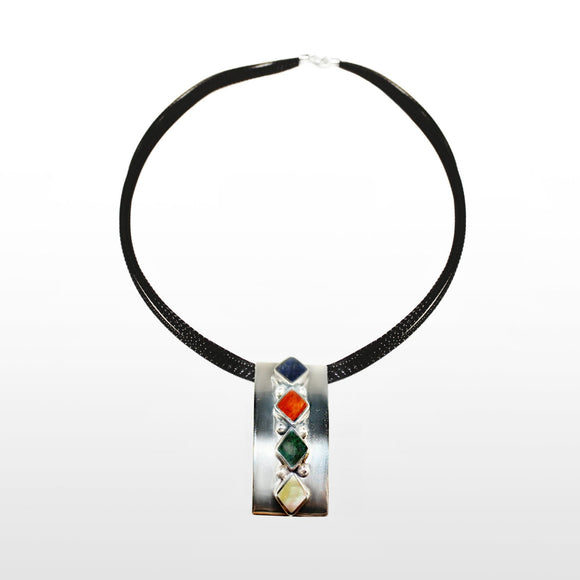 Contemporary Sterling Silver Pendant with Four Stones - Qinti - The Peruvian Shop