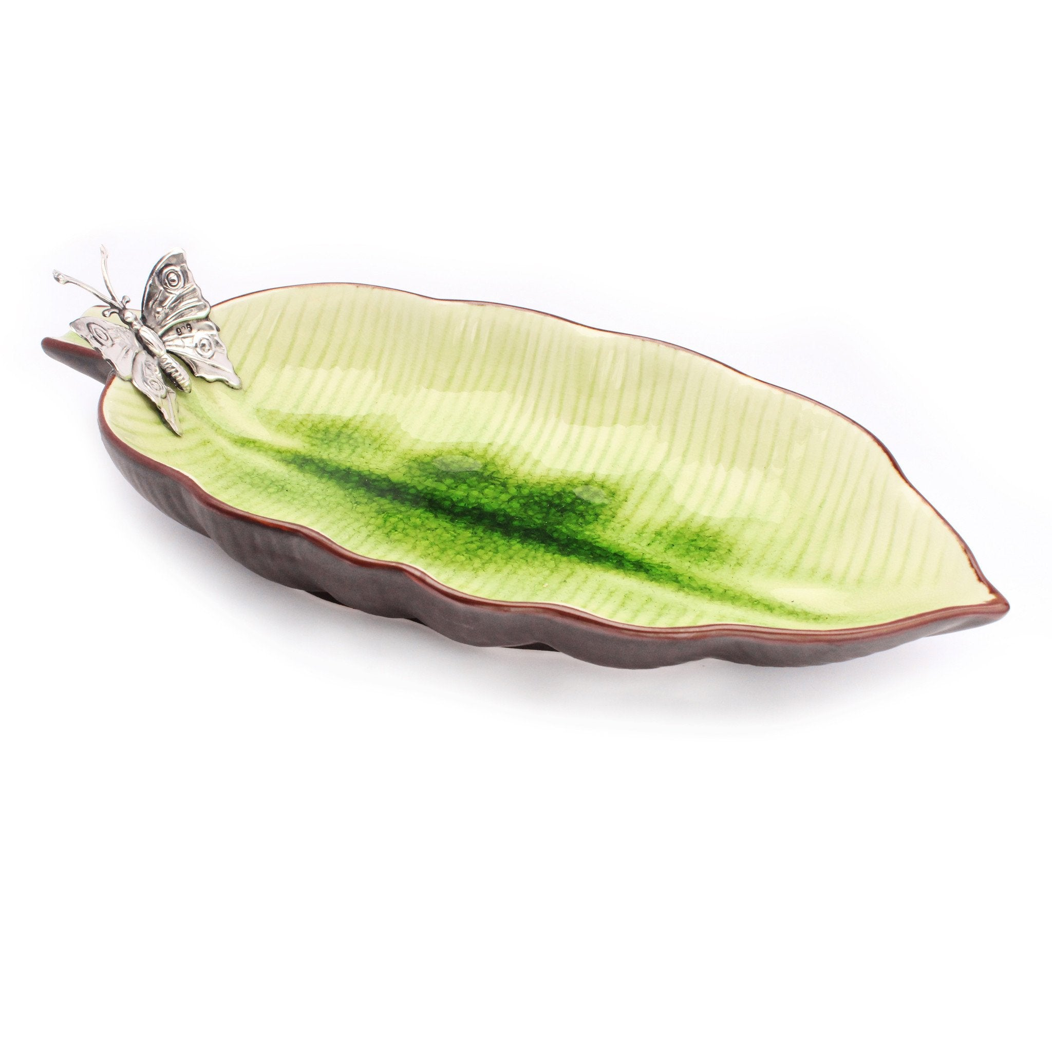 Leaf Shaped Ceramic Dish Snack Tray