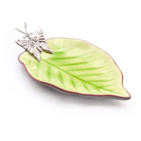 Green Ceramic dish with Sterling Silver Butterfly , GREEN CERAMIC DISHES - ARTISANS ON MAIN STREET, {Artisan_Silver_Gifts} - 1