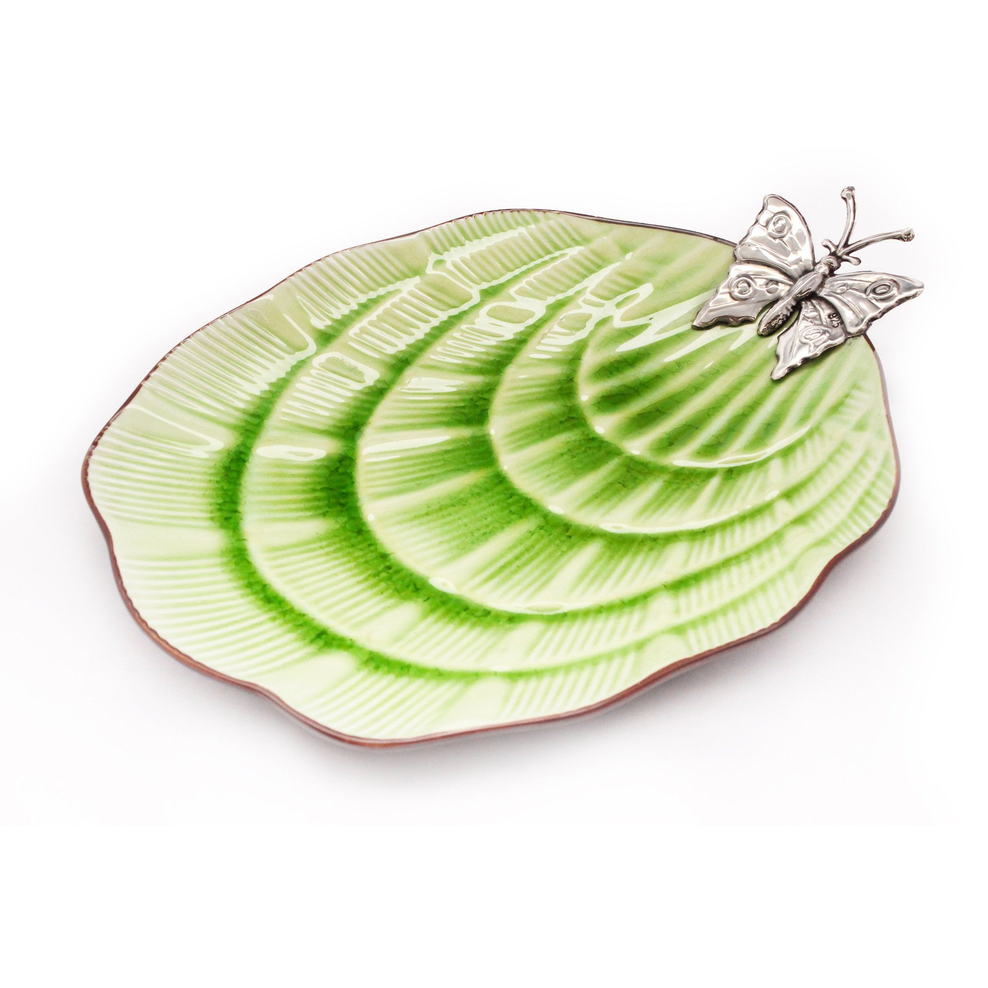 Green Ceramic dish with Sterling Silver Butterfly - Qinti - The Peruvian Shop