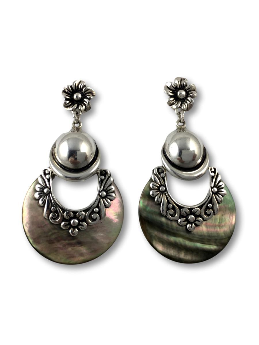 Half-moon Abalone Shell Earrings with Sterling Silver Flower Details - Qinti - The Peruvian Shop